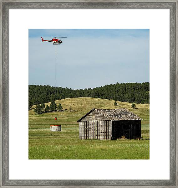 Helicopter Dips Water At Heliwell Framed Print