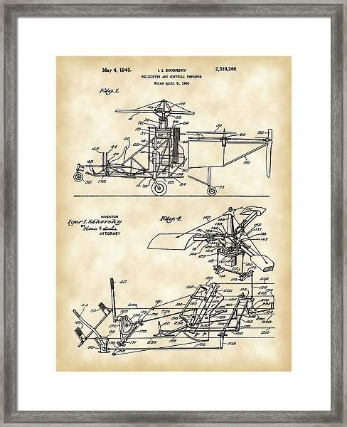 Helicopter Patent 1940 - Vintage Framed Print