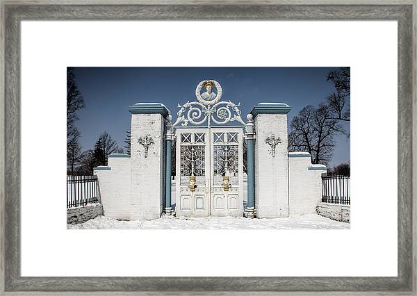 Helis Stock Farm Gate Framed Print