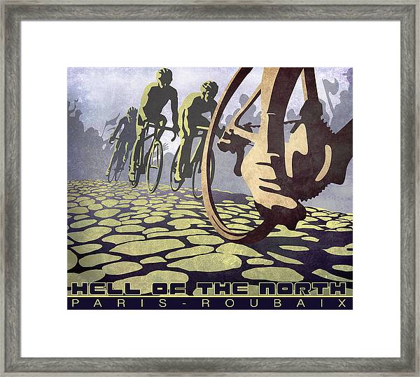 Hell Of The North Retro Cycling Illustration Poster Framed Print