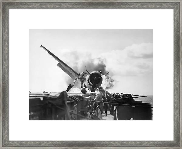 Hellcat Aircraft Slams Into U S S Enterprise Carrier  1943 Framed Print