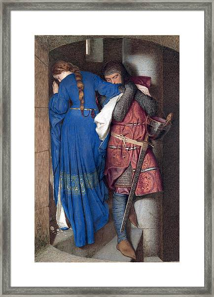 Framed Print featuring the drawing Hellelil And Hildebrand Or The Meeting On The Turret Stairs by Frederic William Burton