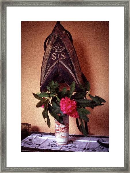 Helmet And Flower Framed Print