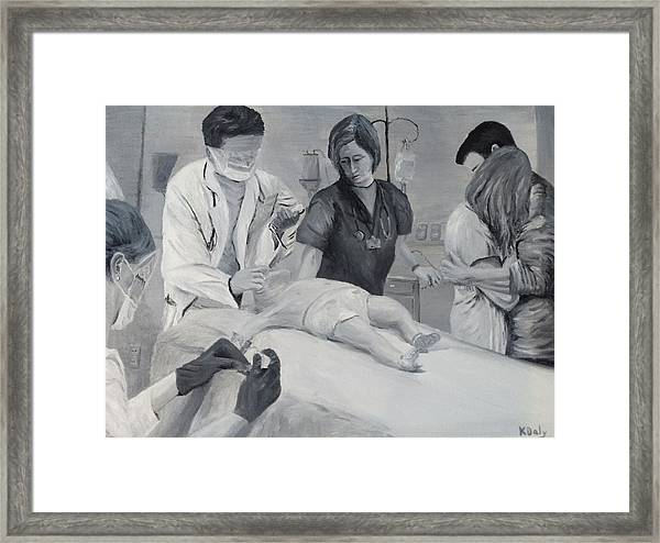 Framed Print featuring the painting Help by Kevin Daly