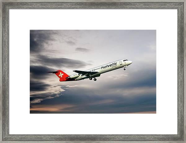 Helvetic Airways Fokker 100 Framed Print