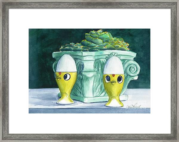 Hen Chicks And Eggs Framed Print