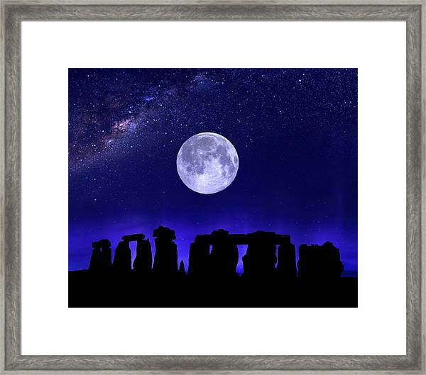 Henge Under The Supermoon Framed Print