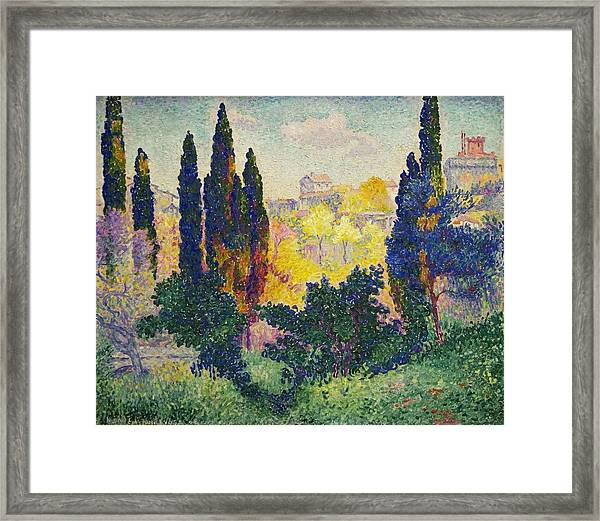 Henri Edmond Cross French Les Cypres A Cagnes Framed Print