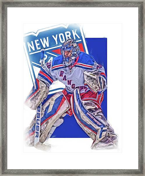 Henrik Lundqvist New York Rangers Oil Art Framed Print
