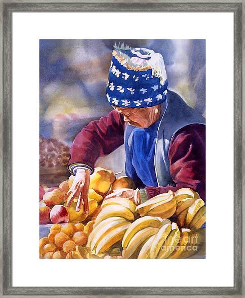 Her Fruitstand Framed Print