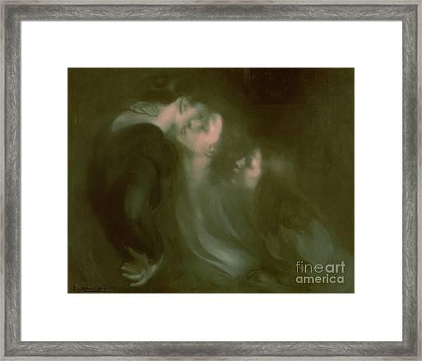 Her Mother's Kiss Framed Print
