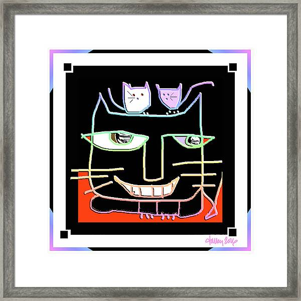 Framed Print featuring the digital art Here,  Kitty Kitty by Larry Talley