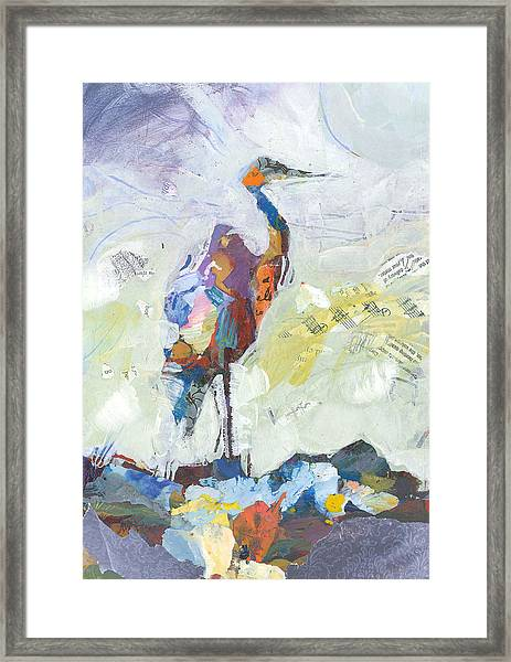 Framed Print featuring the painting Heron by Shelli Walters
