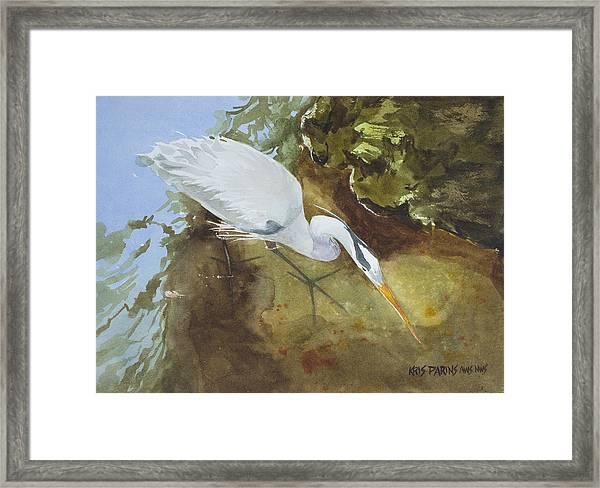 Heron Under The Bridge Framed Print