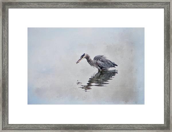 Heron Fishing  - Textured Framed Print