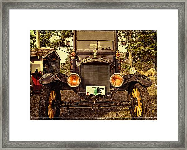 Hey A Model T Ford Truck Framed Print