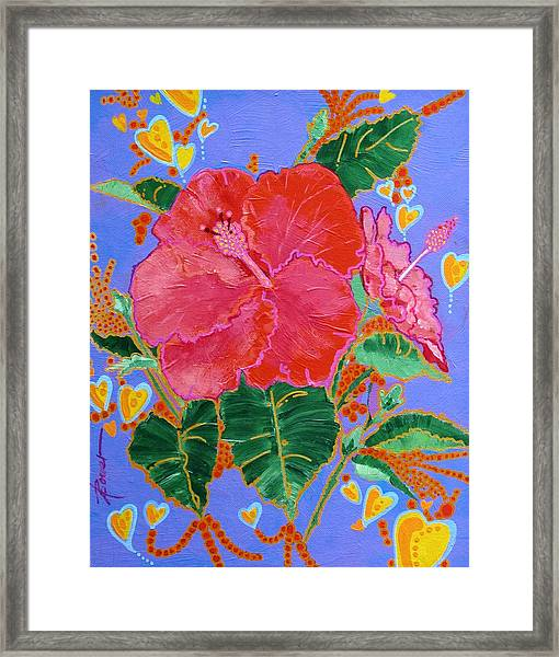 Hibiscus Motif Framed Print