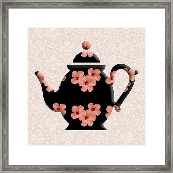 Hibiscus Pattern Teapot Framed Print