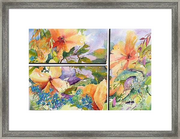 Hibiscus Triptych Framed Print