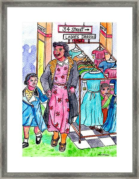 Hiding From My Mother At Macys Framed Print