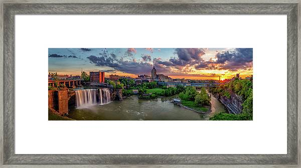 High Falls Panorama Framed Print