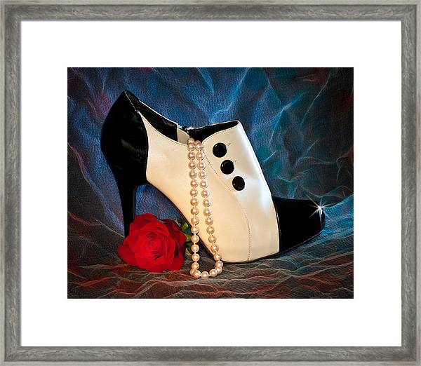 Framed Print featuring the photograph High Heel Spat Bootie Shoe by Patti Deters