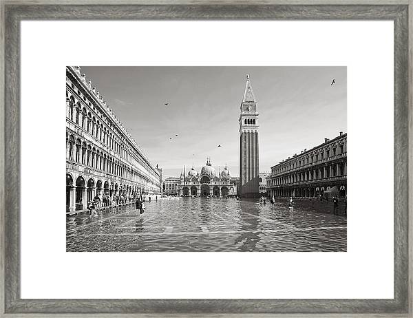 High Water In S.marco Square Framed Print