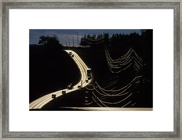 Highway Sunset Framed Print