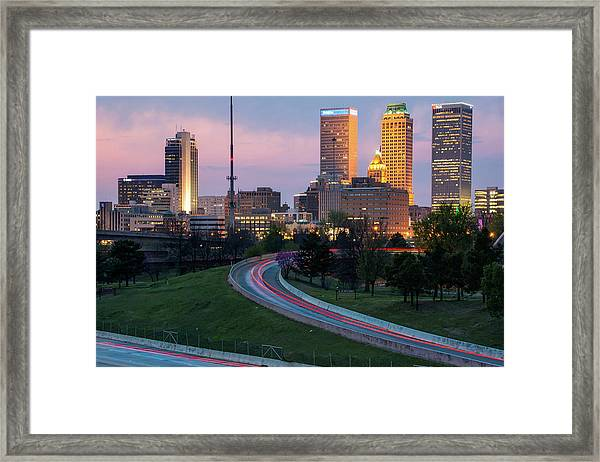 Highway View Of The Tulsa Skyline At Dusk Framed Print