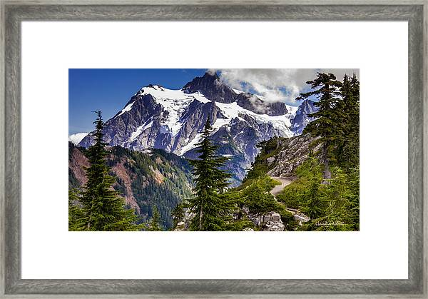 Framed Print featuring the photograph Hike To See Mt. Baker by Claudia Abbott