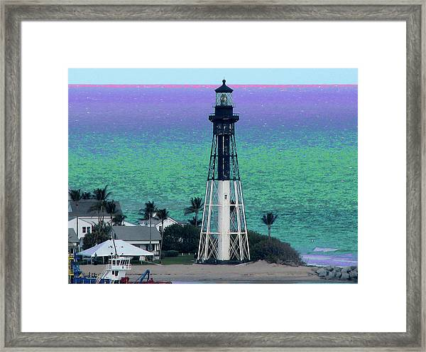Hillsboro Lighthouse Purple Horizon Framed Print
