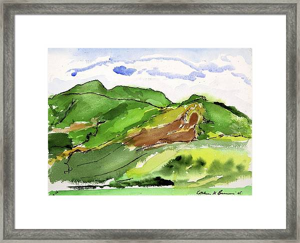 Hillside And Clouds Framed Print