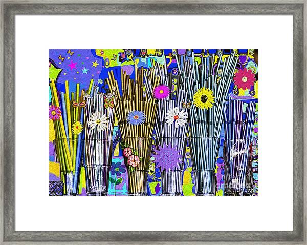 Framed Print featuring the digital art Hippie Hippie Straws by Eleni Mac Synodinos