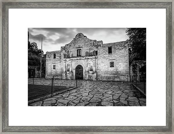 Historic Alamo Mission - San Antonio Texas - Black And White Framed Print by Gregory Ballos