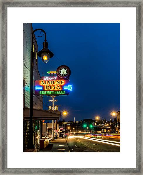 Historic Almond Roca Co. During Blue Hour Framed Print
