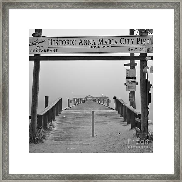 Historic Anna Maria City Pier In Fog Infrared 52 Framed Print