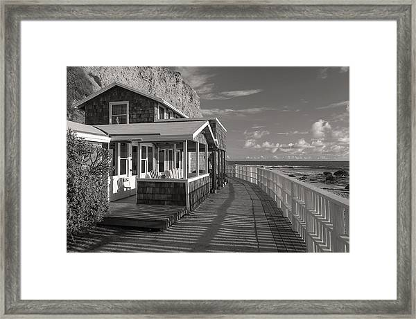 Historic Cottage  Crystal Cove Black And White Framed Print