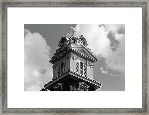 Historic Courthouse Steeple In Bw Framed Print