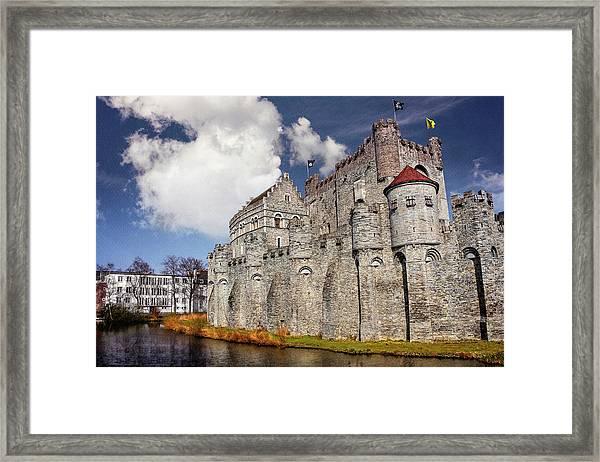 Historic Gravensteen Castle In Ghent  Framed Print