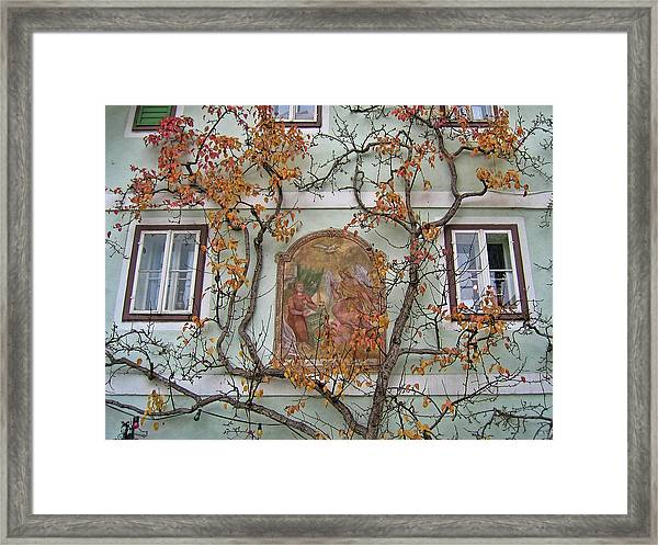 Historic House Facade In Bad Goisern Hallstatt Salzkammergut Aus Framed Print