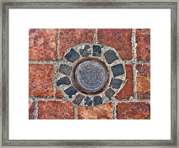 Historic Pavement Detail With Hungarian Town Seal Framed Print