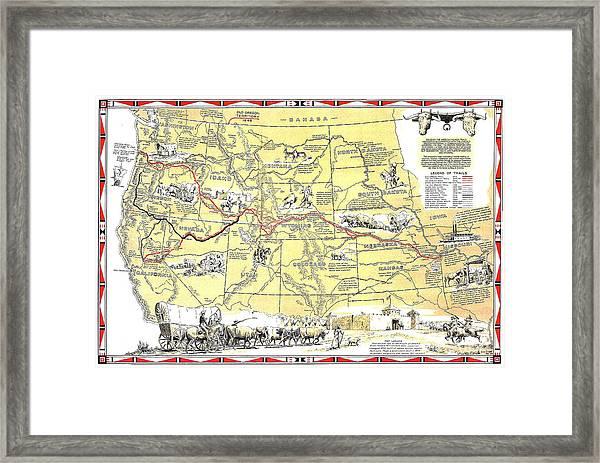 Historic Pioneer Trails Map 1843-1866 Framed Print