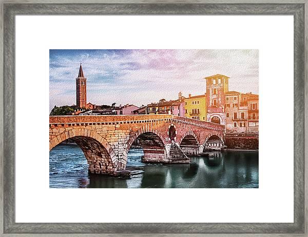 Historic Ponte Pietra Verona Framed Print