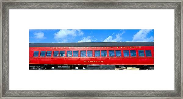 Historic Red Passenger Car, Austin & Framed Print