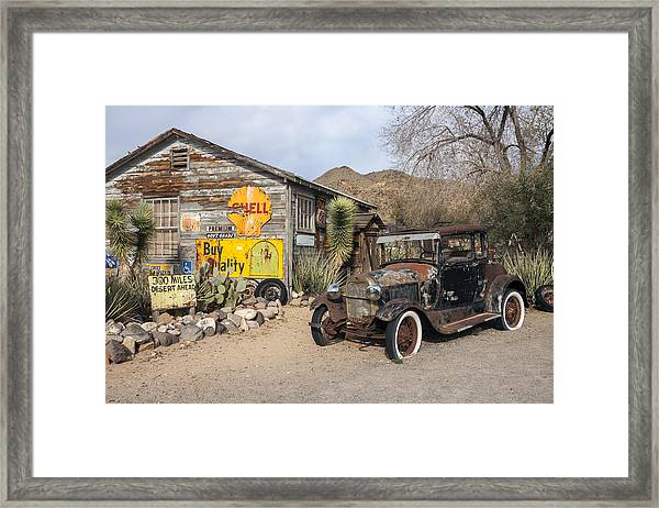Historic Route 66 - Old Car And Shed Framed Print