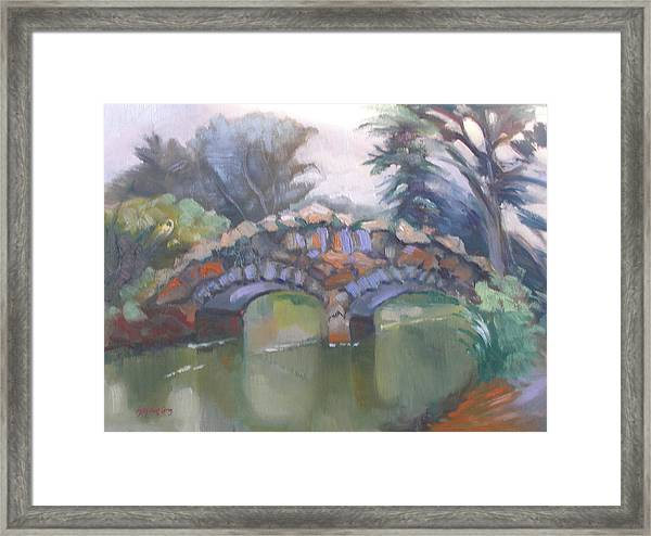 Historic Stone Footbridge From Path Framed Print