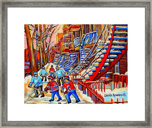 Hockey Game Near The Red Staircase Framed Print