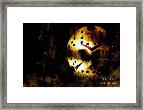 Hockey Mask Horror Framed Print