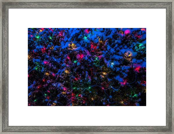 Holiday Lights In Snow Framed Print