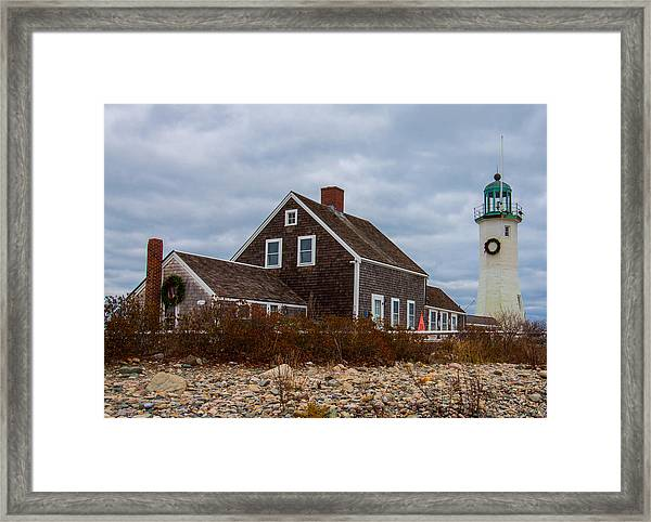 Holiday Wreath On The Lighthouse Framed Print